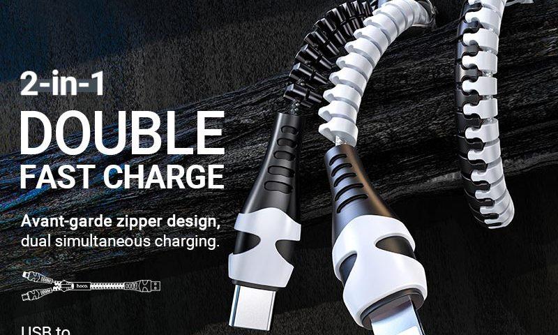 hoco news u97 2in1 zipper charging cable lightning type c banner en