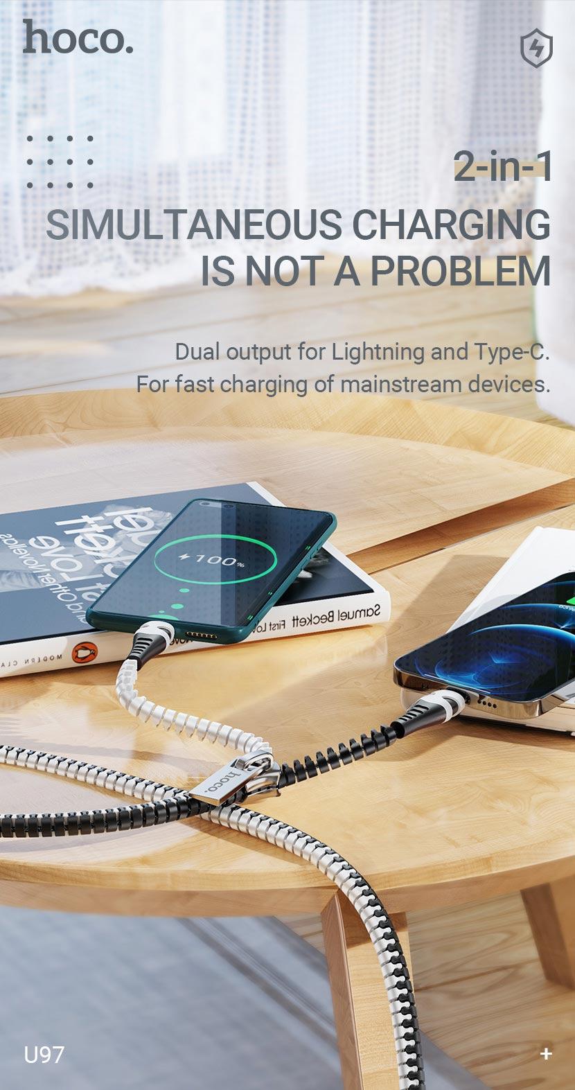 hoco news u97 2in1 zipper charging cable lightning type c charging en
