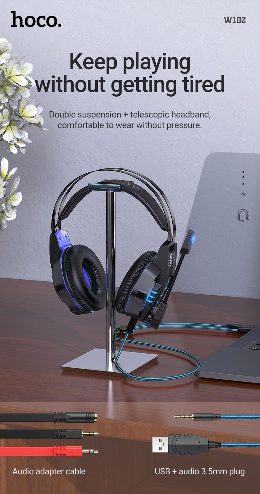 hoco news w102 cool tour gaming headphones comfortable en