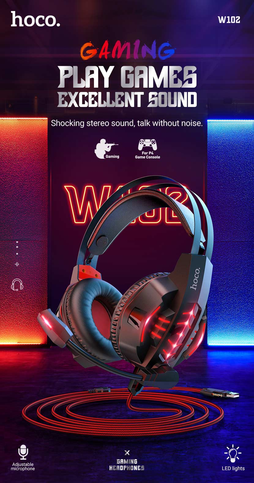 hoco news w102 cool tour gaming headphones en