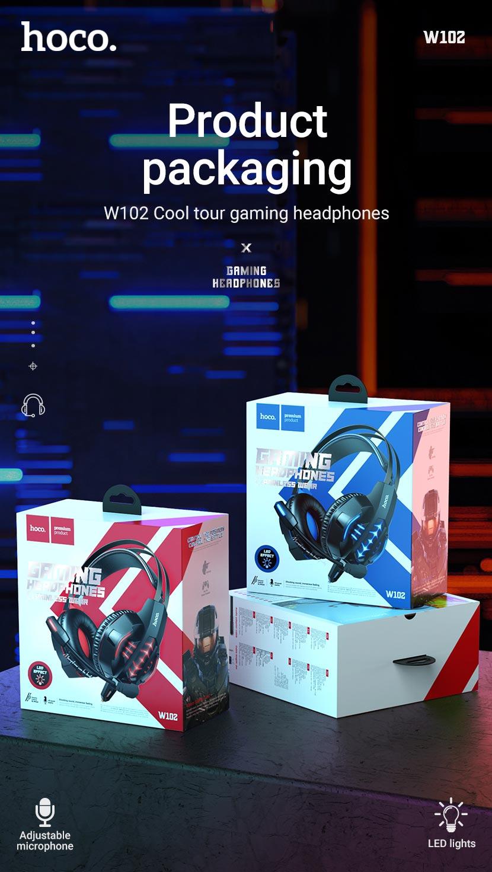 hoco news w102 cool tour gaming headphones package en