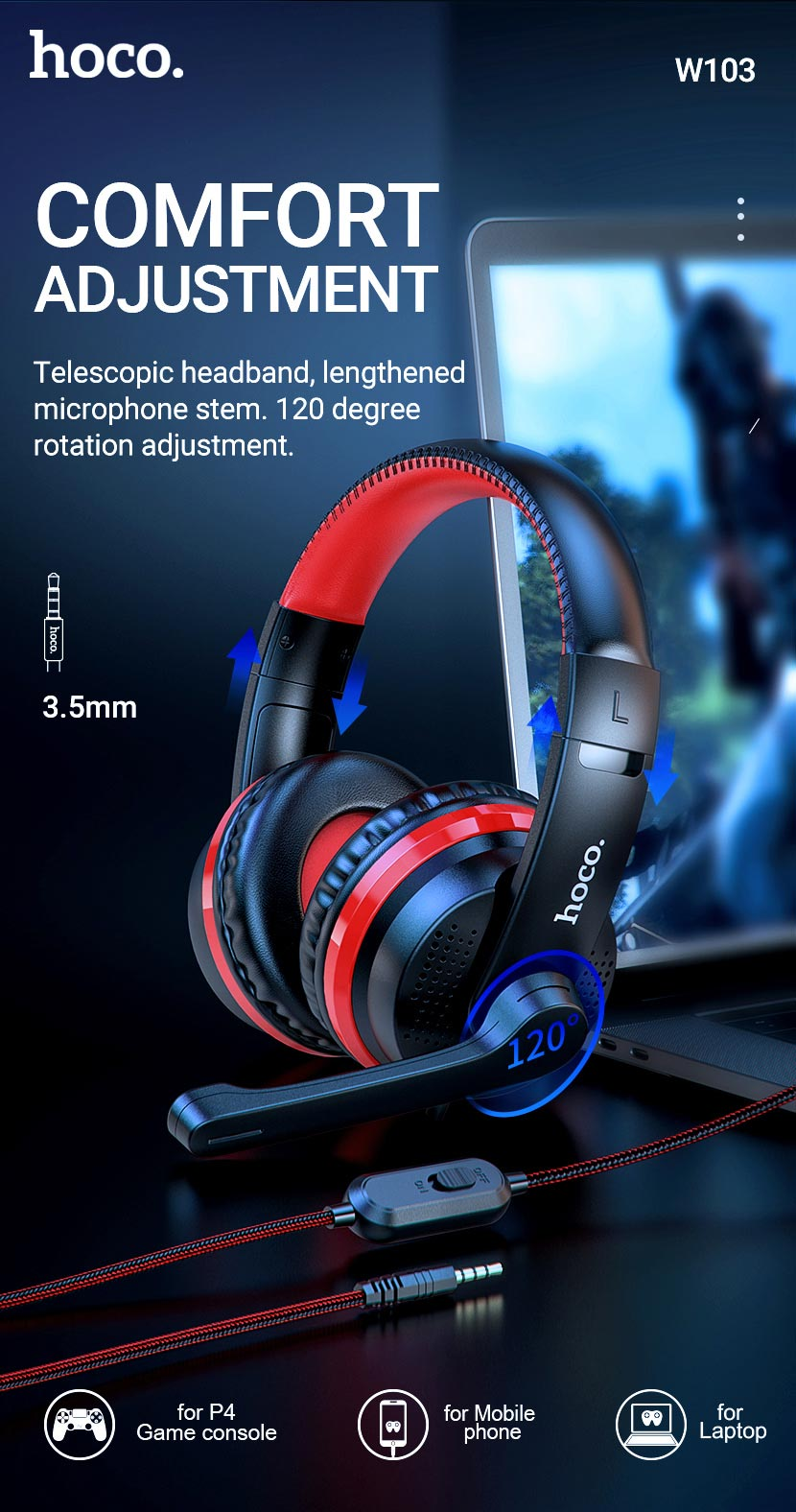hoco news w103 magic tour gaming headphones adjustment en