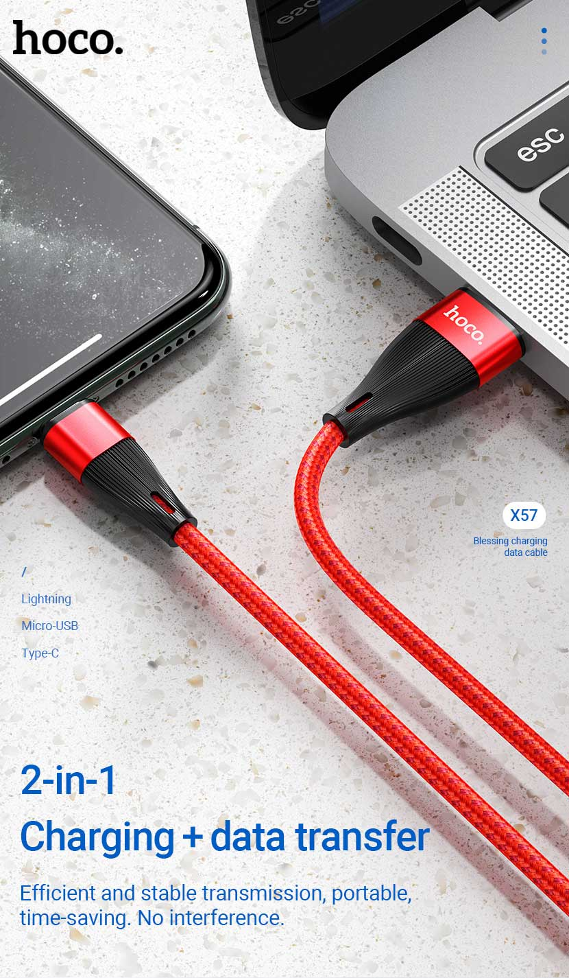 hoco news x57 blessing charging data cable 2in1 en