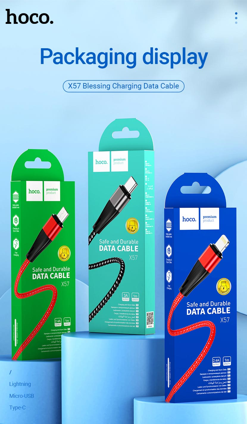 hoco news x57 blessing charging data cable packages en