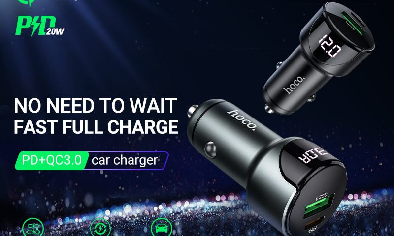 hoco news z42 light road dual port digital display pd20w qc3 car charger banner en