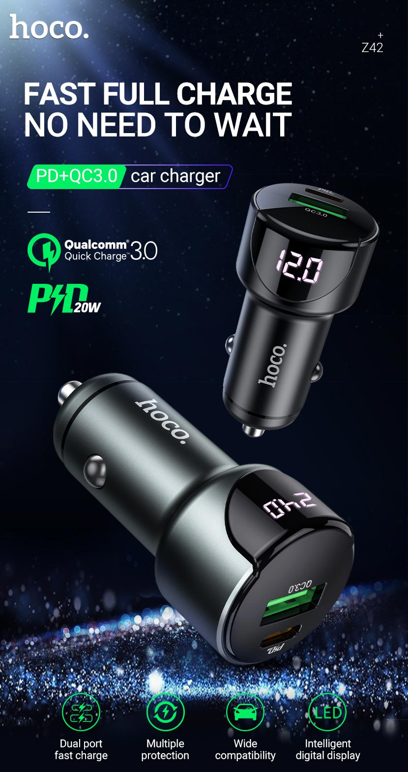 hoco news z42 light road dual port digital display pd20w qc3 car charger en