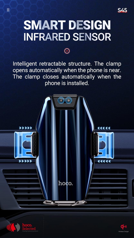 hoco selected s45 energia smart wireless charging car holder design en