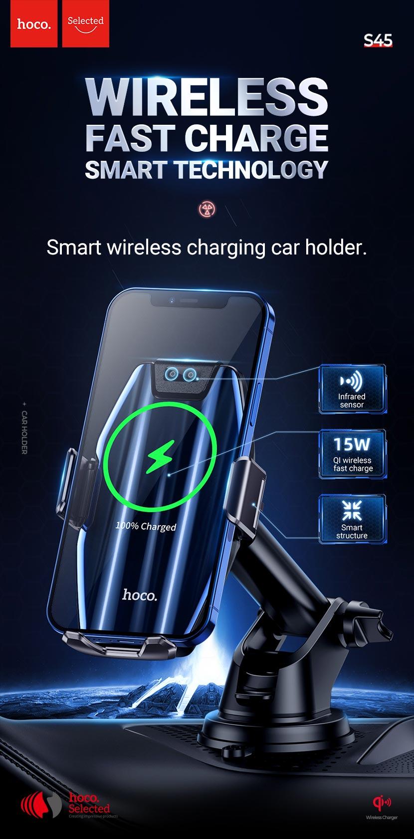 hoco selected s45 energia smart wireless charging car holder en
