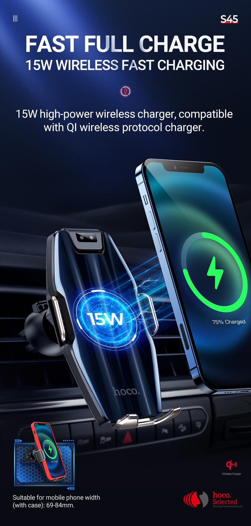 hoco selected s45 energia smart wireless charging car holder fast en