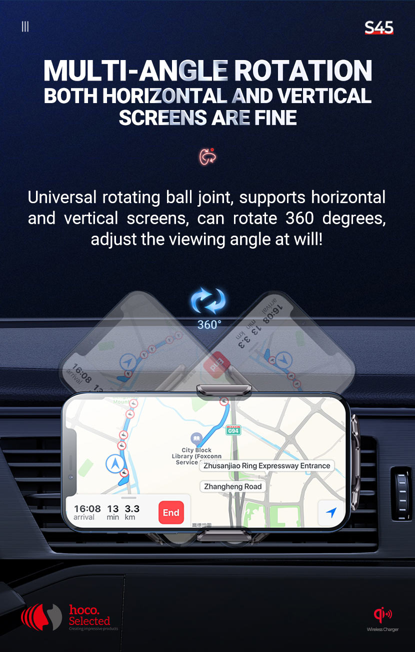 hoco selected s45 energia smart wireless charging car holder rotation en