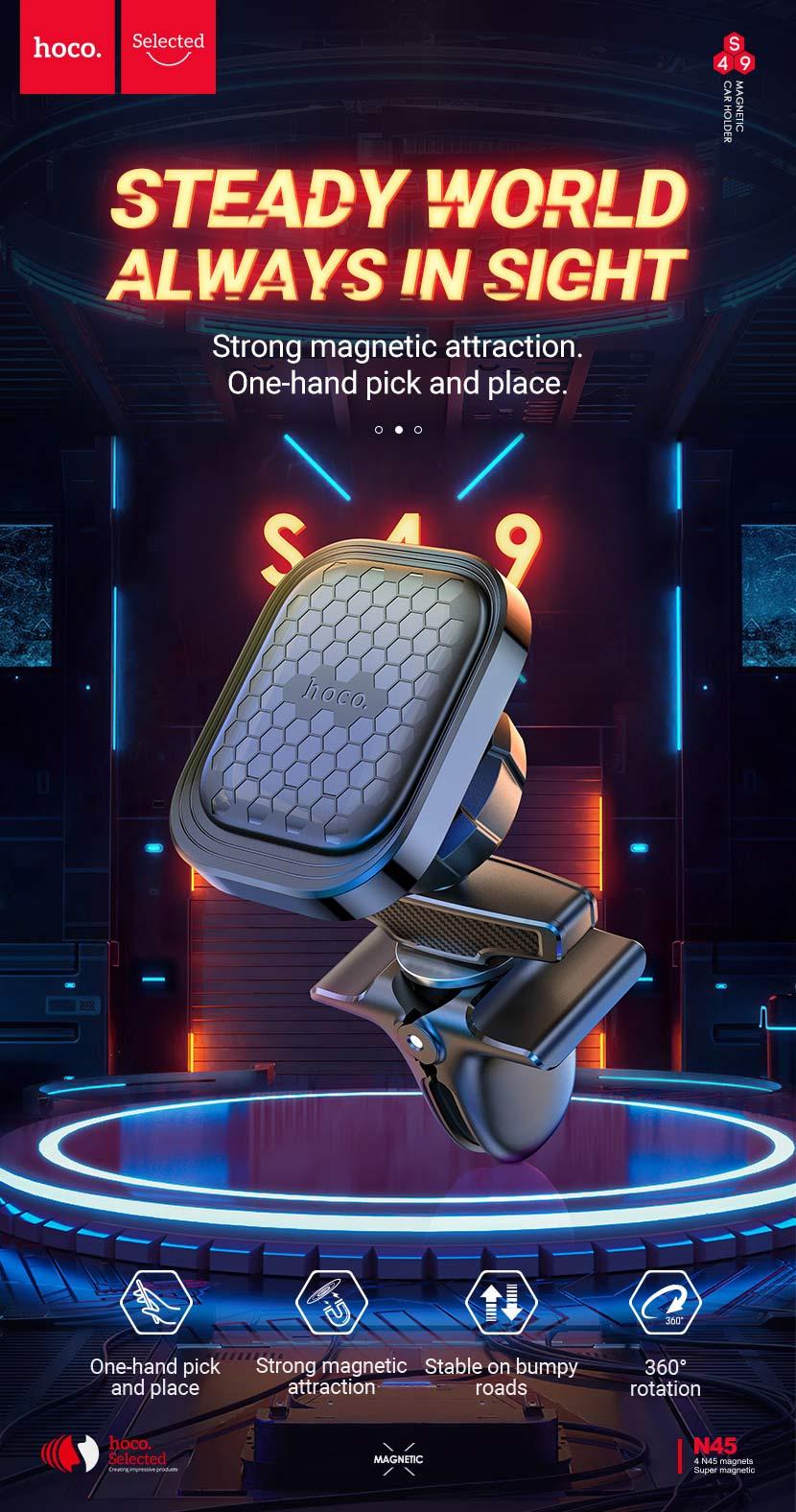 hoco selected s49 fuerte series air outlet magnetic car holder en
