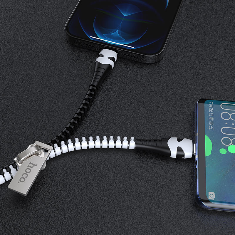 hoco u97 2in1 zipper charging cable for lightning type c charger