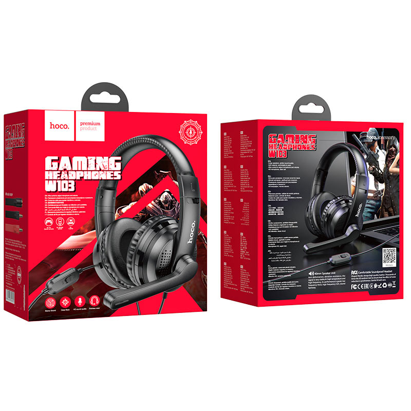 hoco w103 magic tour gaming headphones package black