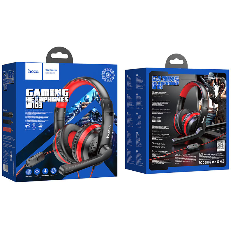 hoco w103 magic tour gaming headphones package red