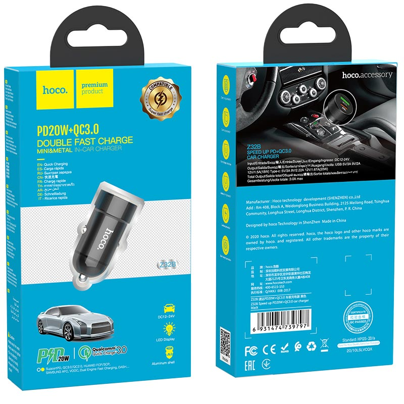 hoco z32b speed up pd20w qc3 car charger package