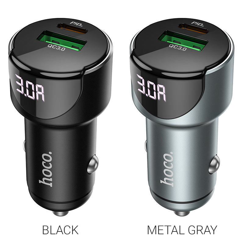 hoco z42 light road dual port digital display pd20w qc3 car charger colors