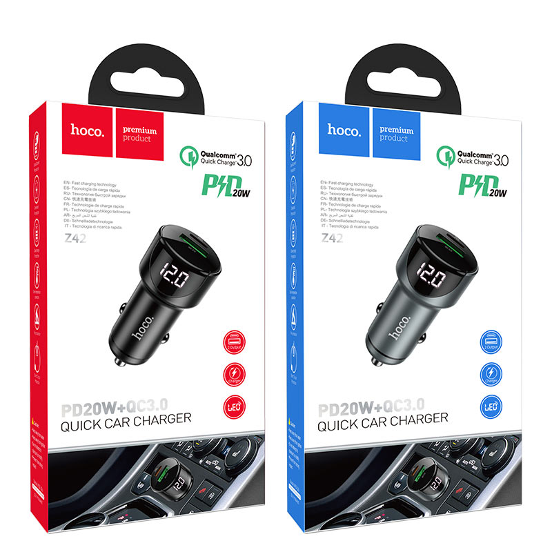 hoco z42 light road dual port digital display pd20w qc3 car charger packages