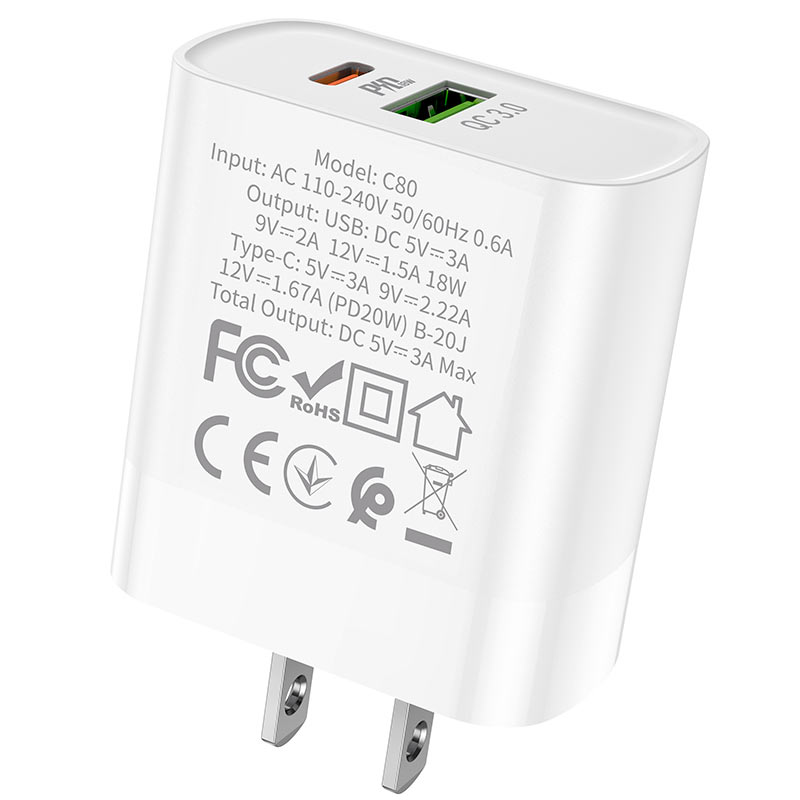 hoco c80 rapido pd20w qc3 wall charger us specs