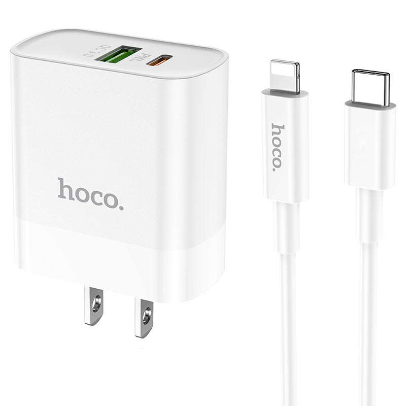 hoco c80 rapido pd20w qc3 wall charger us type c to lightning set connectors