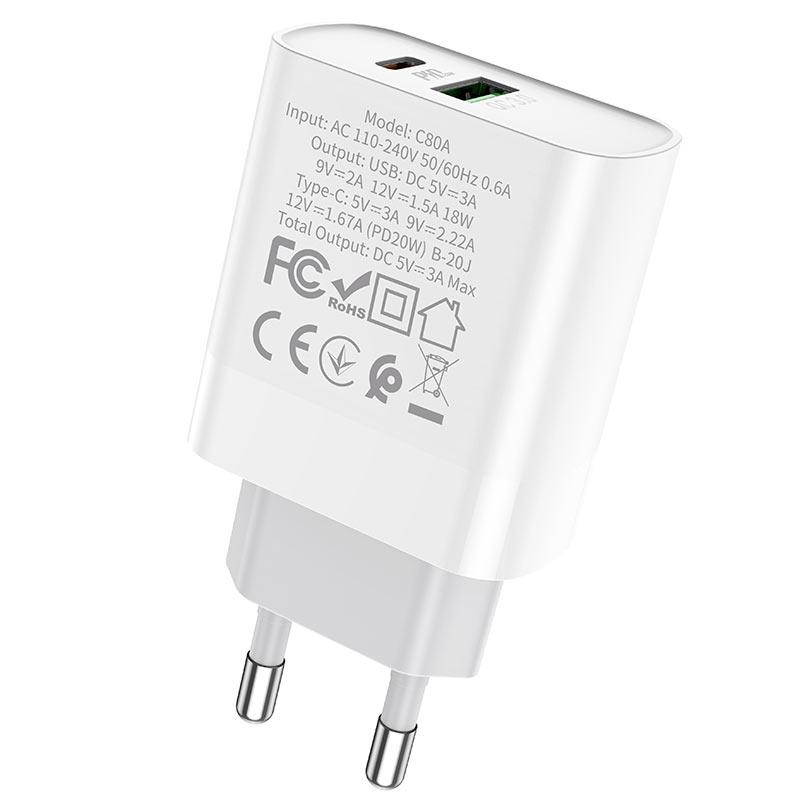 hoco c80a rapido pd20w qc3 wall charger eu specs