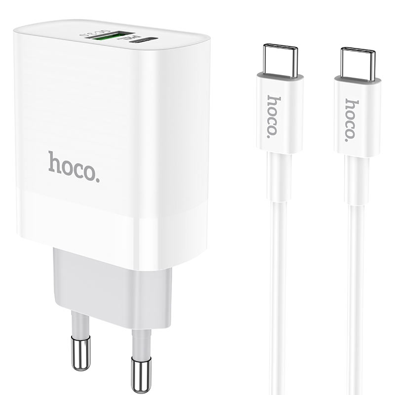 hoco c80a rapido pd20w qc3 wall charger eu type c to type c set connectors