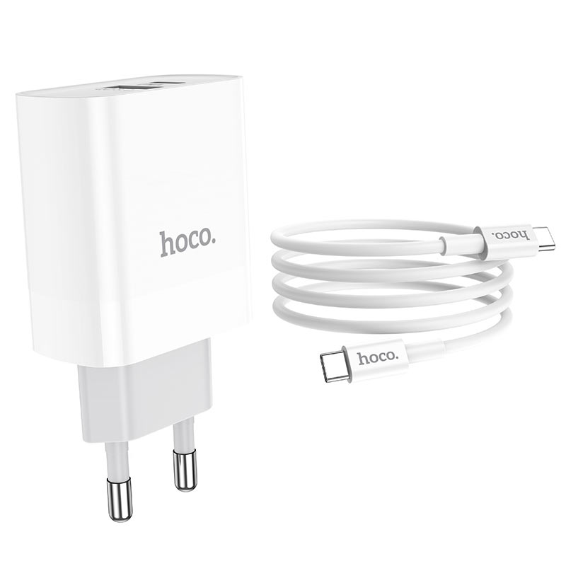 hoco c80a rapido pd20w qc3 wall charger eu type c to type c set wire