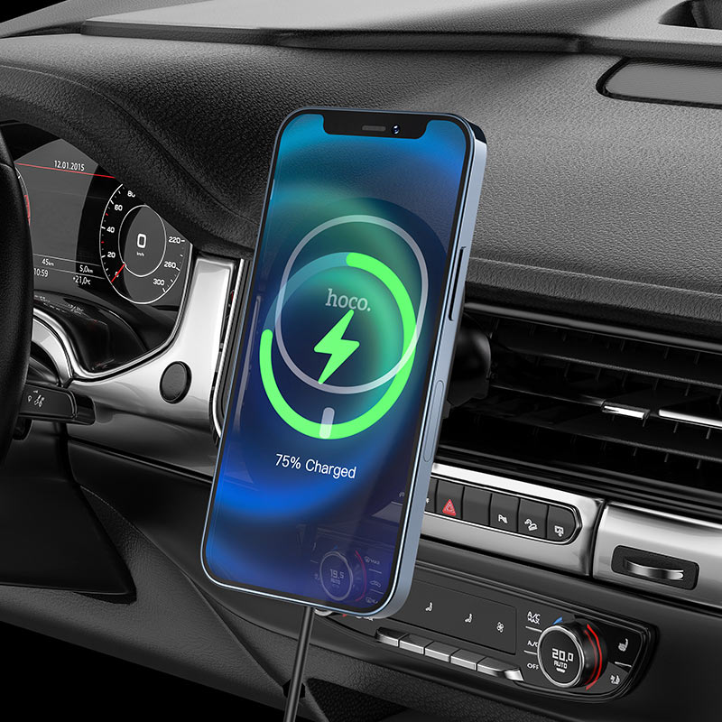 hoco ca90 powerful magnetic wireless charging car holder charging