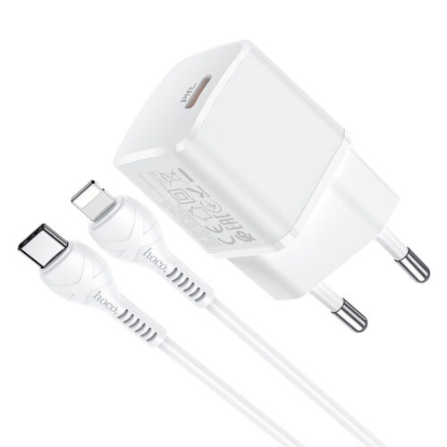 hoco n10 starter single port pd20w wall charger eu type c to lightning set