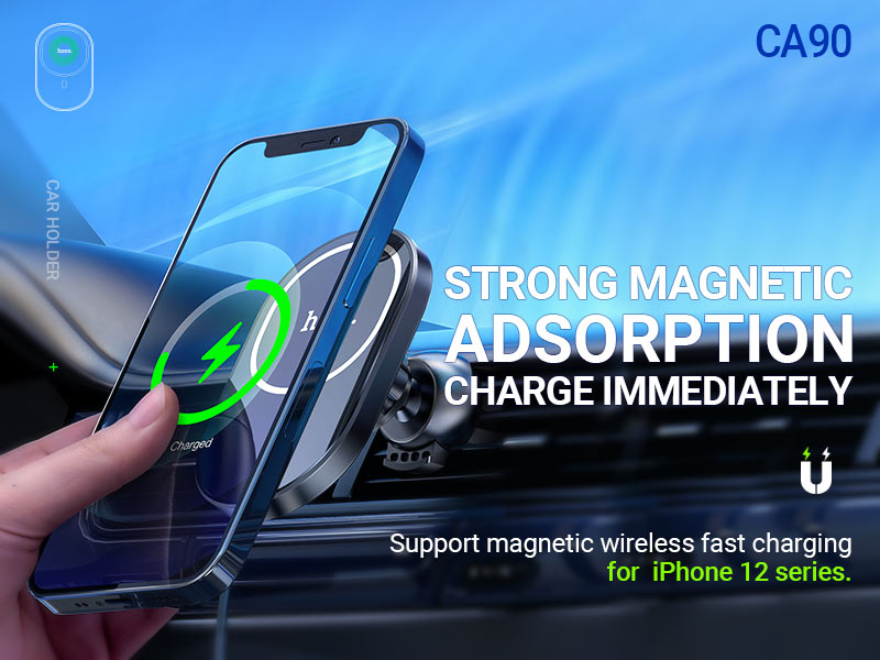 hoco news ca90 powerful magnetic car holder with wireless charging banner en