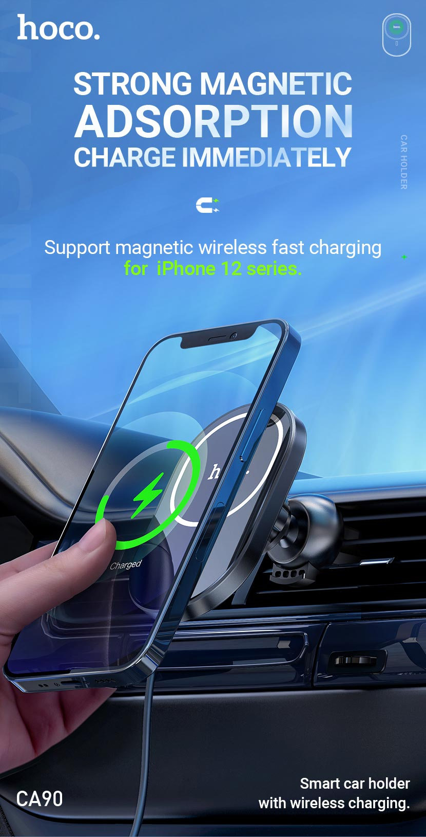 hoco news ca90 powerful magnetic car holder with wireless charging en