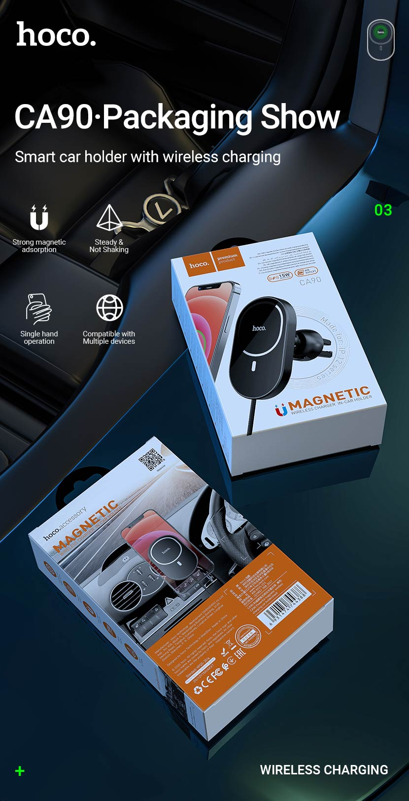 hoco news ca90 powerful magnetic car holder with wireless charging package en