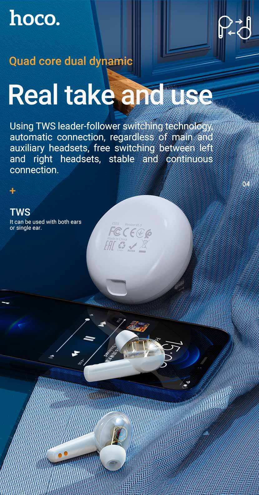 hoco news es55 songful tws dual moving coil wireless bt headset connection en