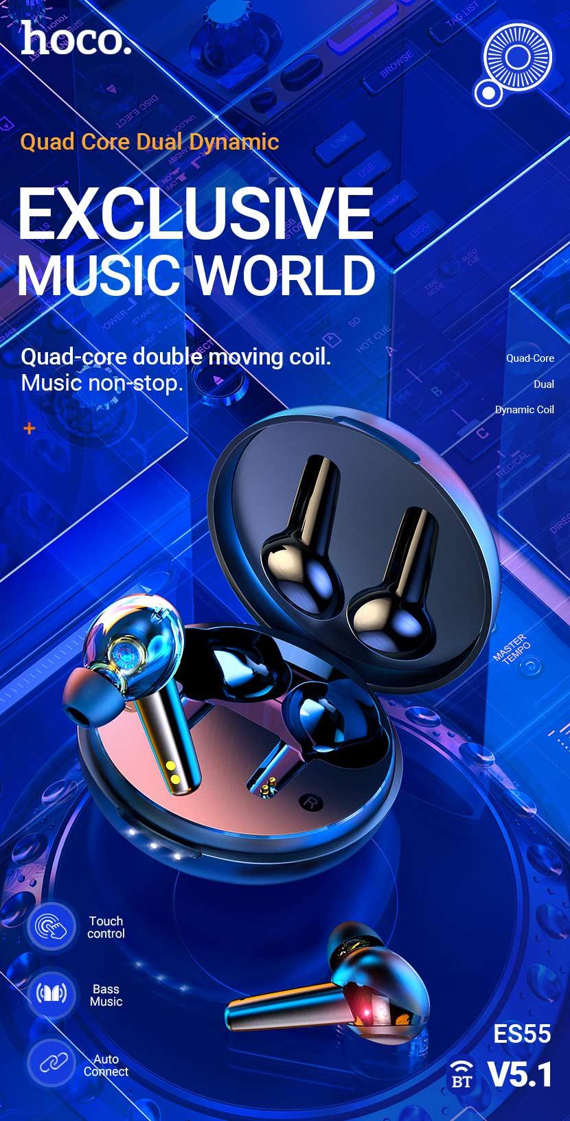 hoco news es55 songful tws dual moving coil wireless bt headset en