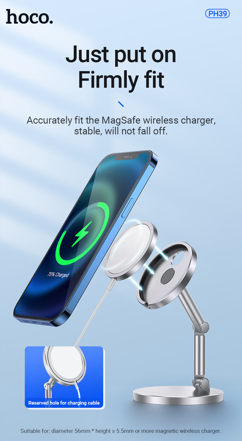 hoco news ph39 daring magnetic desktop stand with wireless charging firmly en