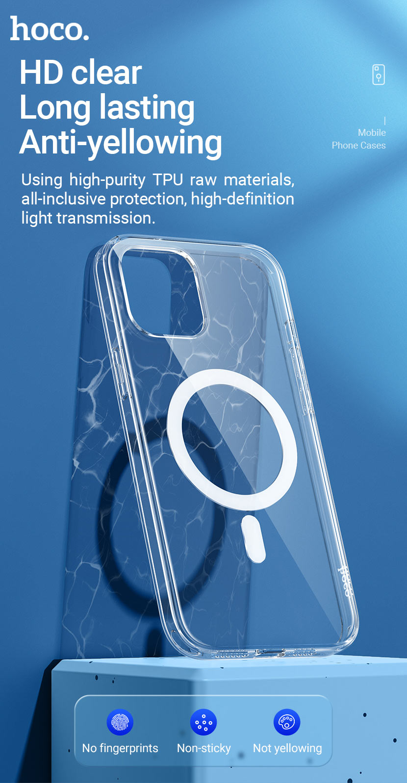 hoco news transparent tpu magnetic protective case for iphone12 clear en
