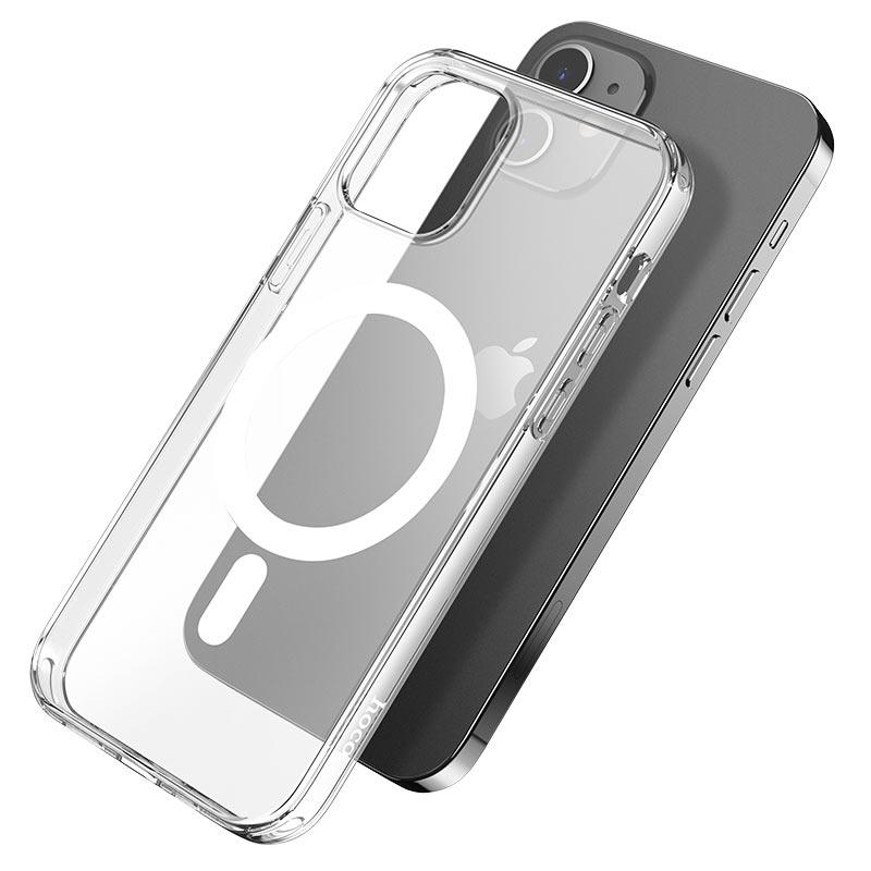 hoco прозрачный tpuмагнитный защитный чехол для iphone 12 12mini 12pro 12promax чистый