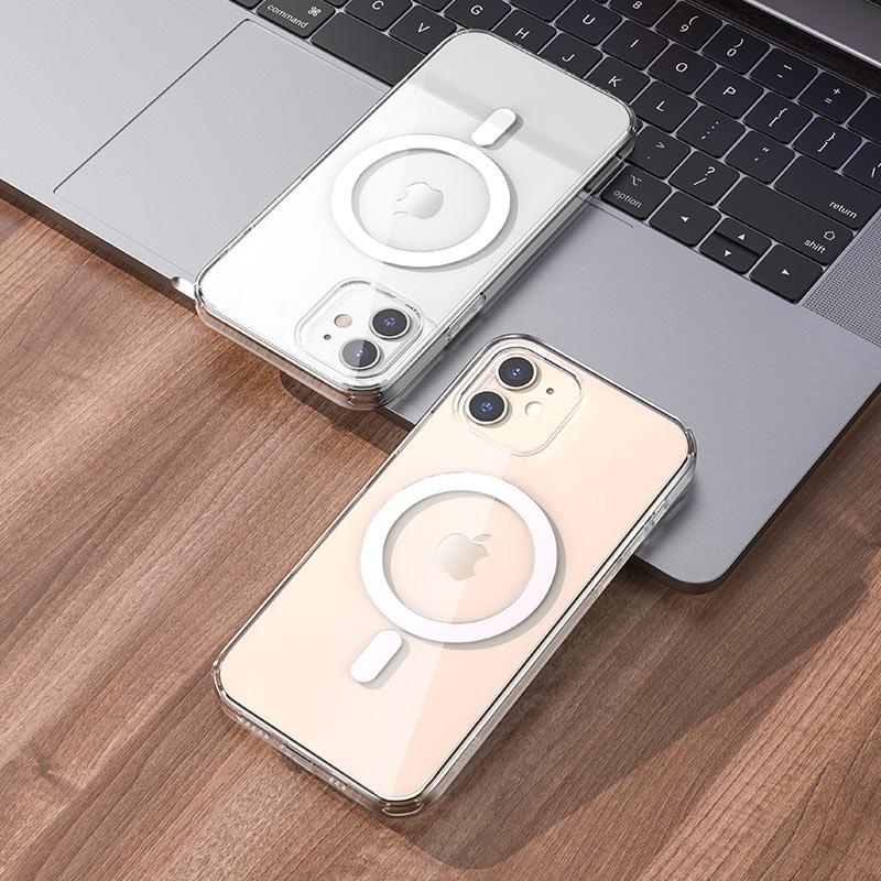 hoco прозрачный tpuмагнитный защитный чехол для iphone 12 12mini 12pro 12promax интерьер