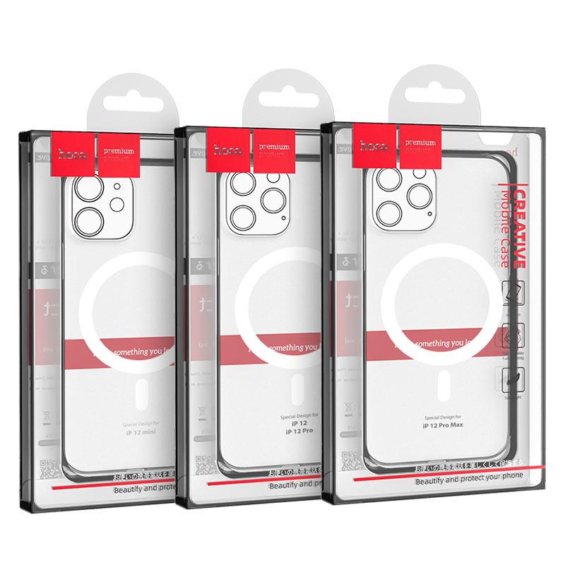 hoco прозрачный tpuмагнитный защитный чехол для iphone 12 12mini 12pro 12promax упаковка