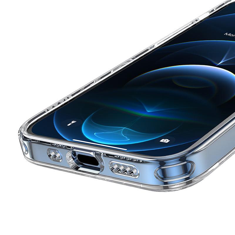 hoco transparent tpu magnetic protective case for iphone 12mini holes