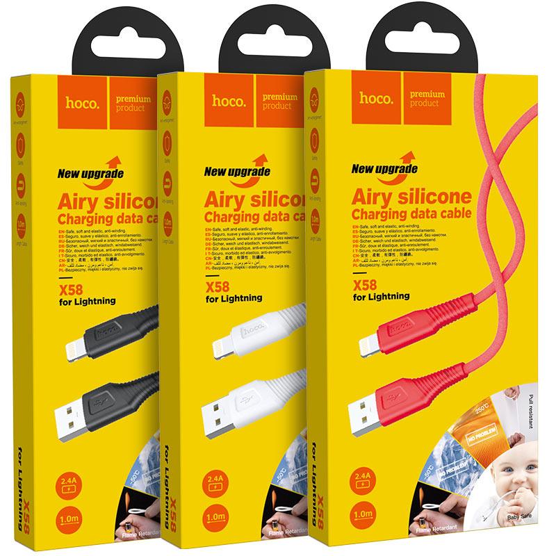 hoco x58 airy силиконовый зарядный дата кабель для lightning упаковка