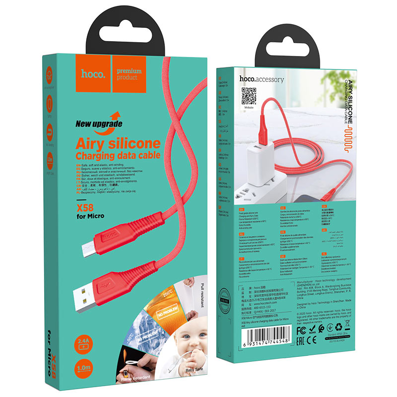 hoco x58 airy silicone charging data cable for micro usb package red