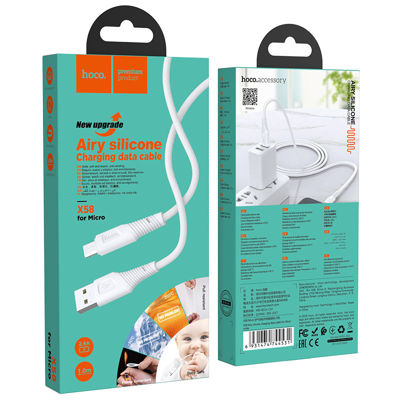 hoco x58 airy silicone charging data cable for micro usb package white